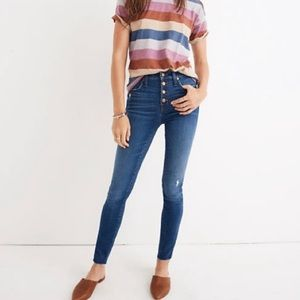 """Madewell 10"""" High Rise Button Fly Distressed Jeans"""